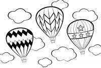 Hot Air Balloon Coloring Pages - Hot Air Balloons with Clouds Around Her