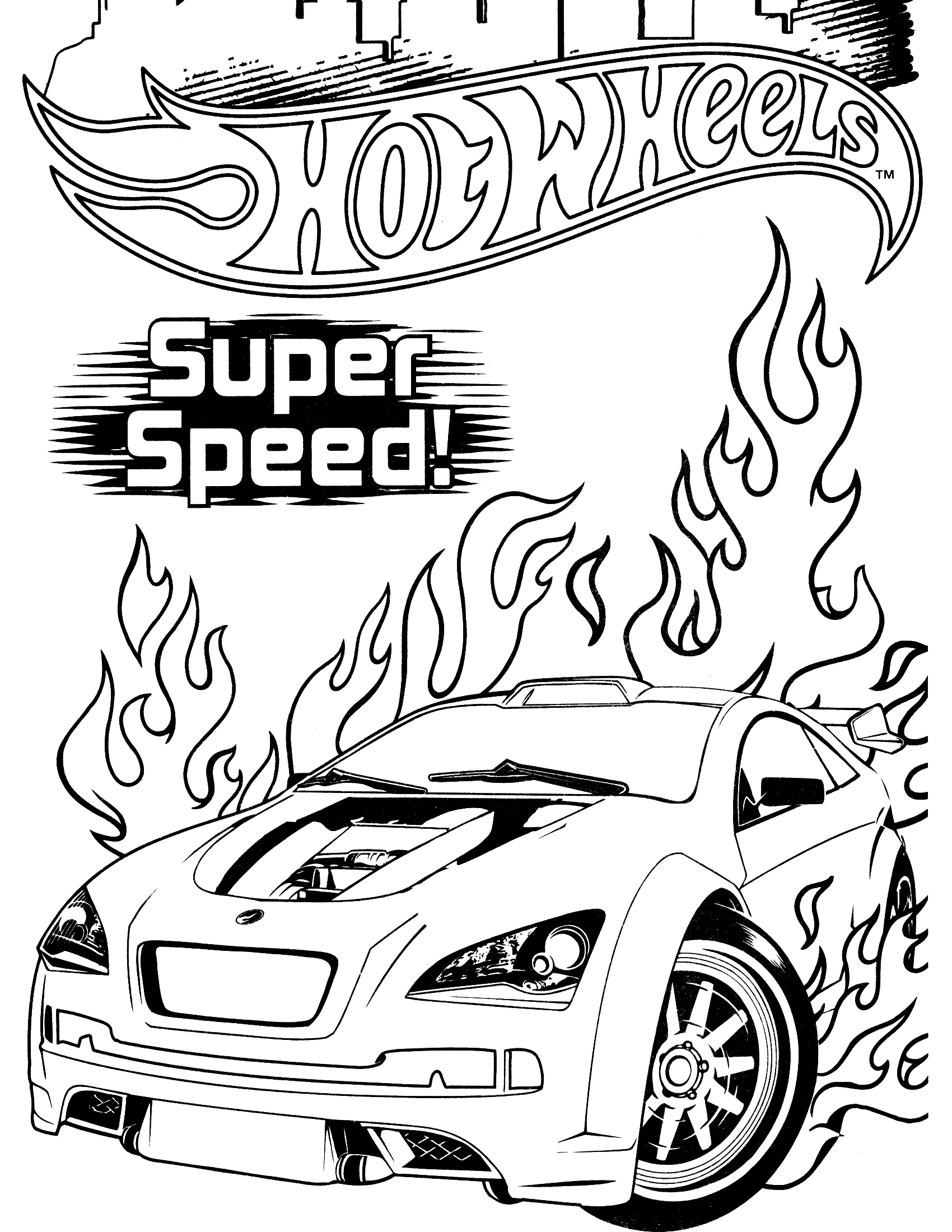Hot Wheels Coloring Pages  to Print 10c - Free For Children