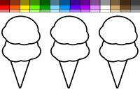 Ice Cream Coloring Pages - Learn Colors for Kids and Color Beach Double Ice Cream Cone with