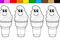 Icecream Cone Coloring Pages - Learn Colors for Kids and Color with Smiley Face Ice Cream Cones
