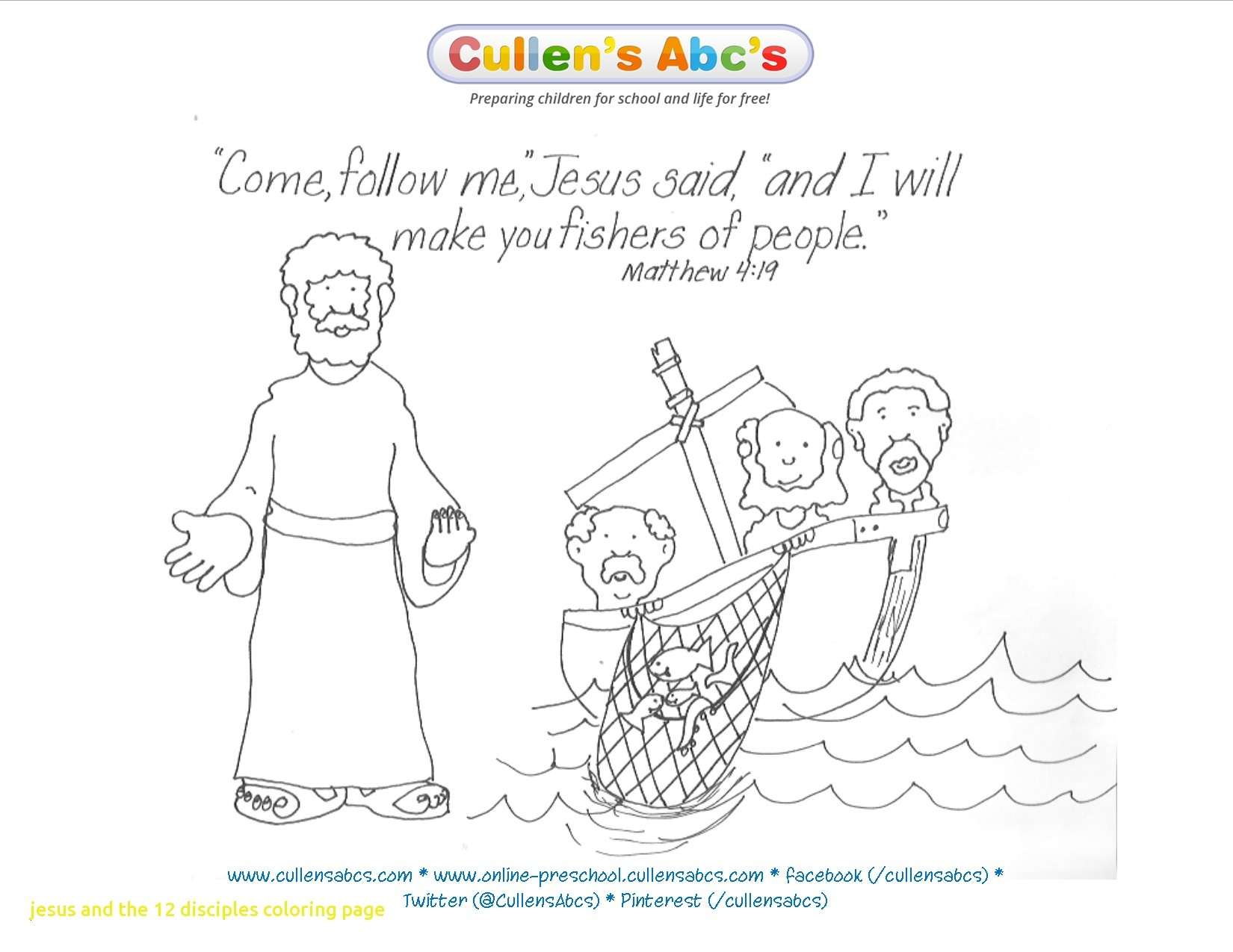 Jesus Calling His Disciples Coloring Pages  Printable 3d - Free Download