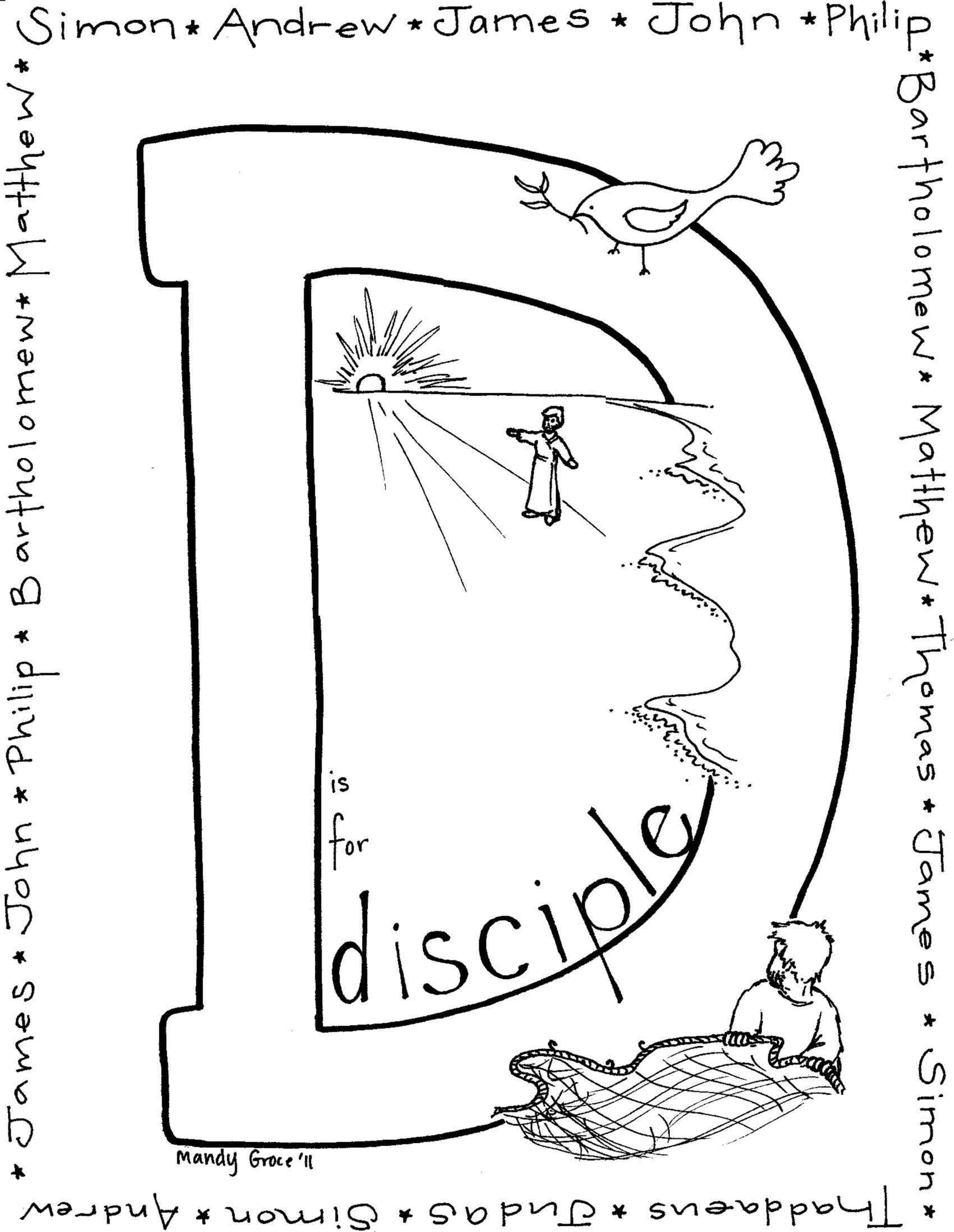Jesus Calling His Disciples Coloring Pages  Printable 11d - To print for your project