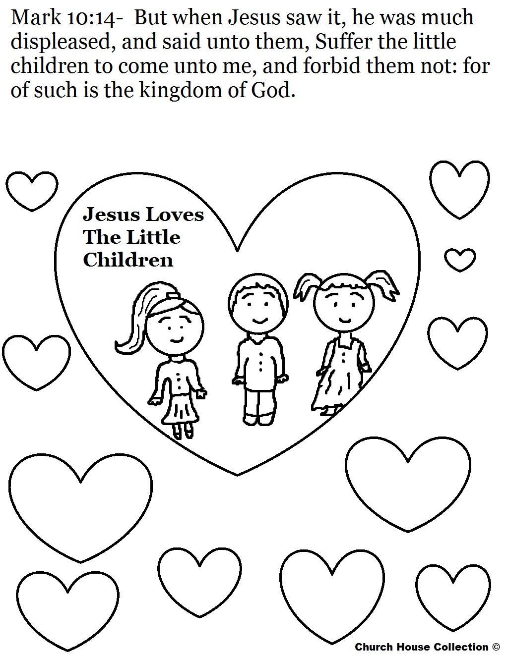 Jesus Loves the Little Children Coloring Pages  Printable 6g - Free For kids