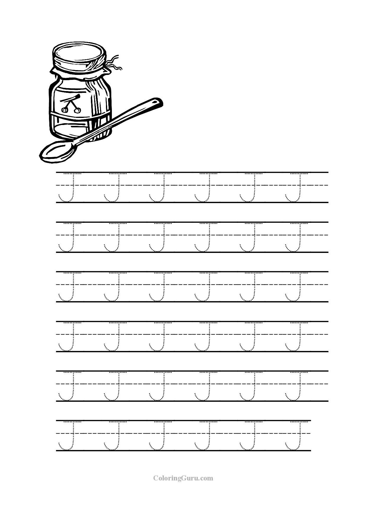 Letter J Coloring Pages for Preschool  Download 11g - To print for your project