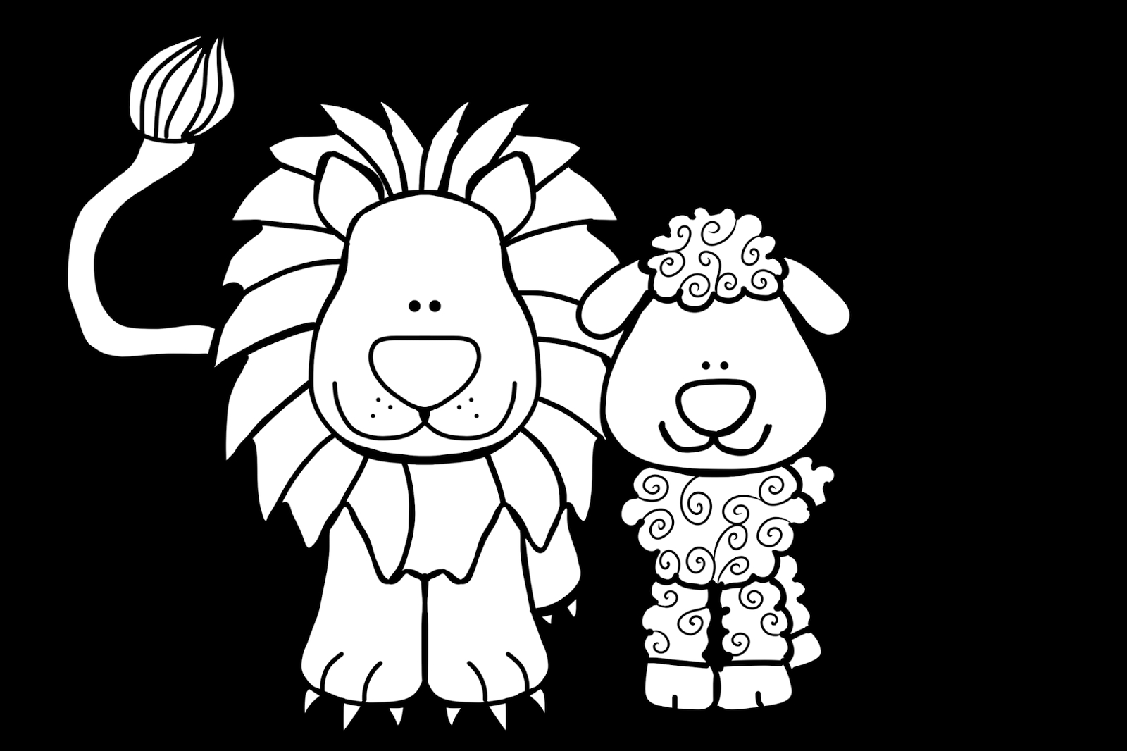 Lion and Lamb Coloring Pages Collection | Free Coloring Sheets