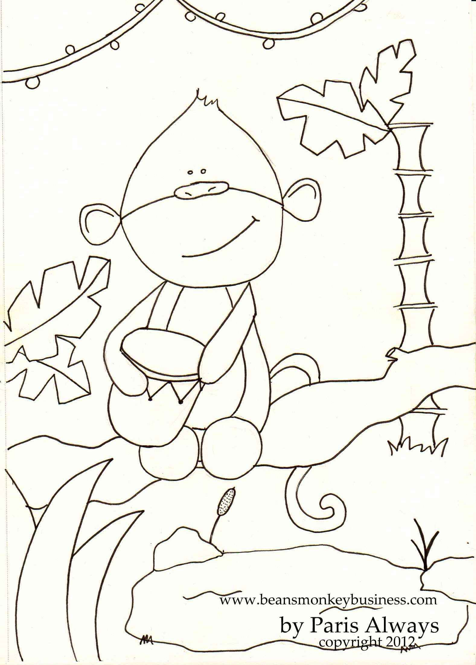 Monkey Coloring Pages for Preschoolers  Printable 2c - Free Download