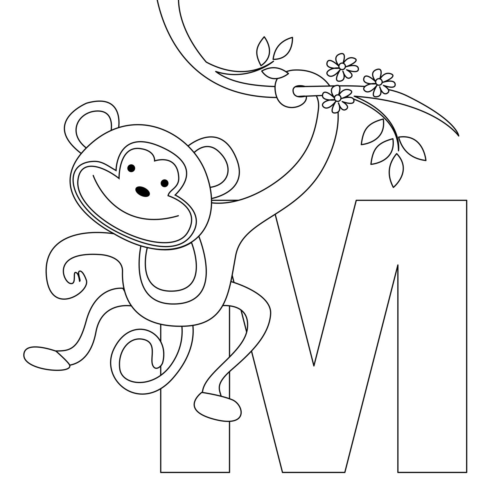 Monkey Coloring Pages Free Printable  Printable 5i - Free For Children