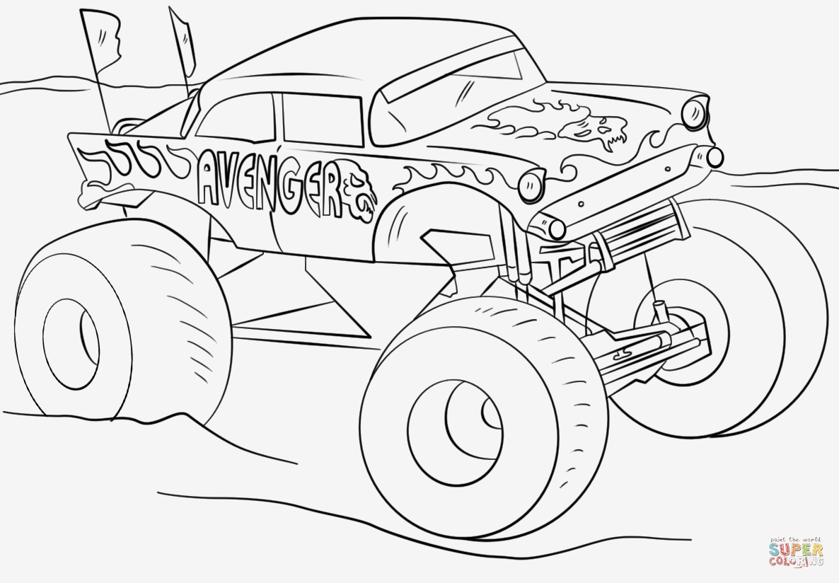 Monster Trucks Printable Coloring Pages  Gallery 3d - Save it to your computer