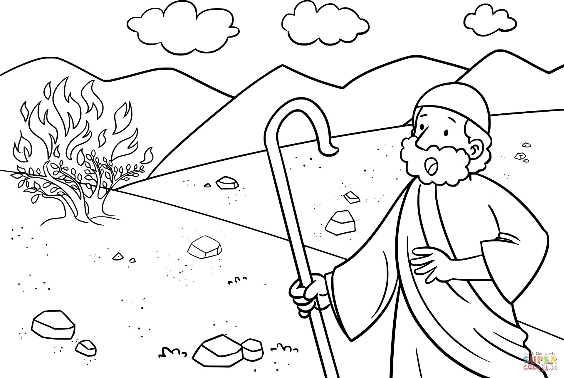 Moses and the Burning Bush Coloring Pages  Collection 17l - Free Download