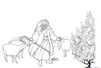 Moses and the Burning Bush Coloring Pages - Moses and the Burning Bush Coloring Sheets