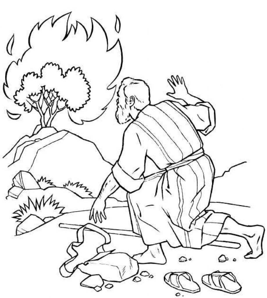 Moses and the Burning Bush Coloring Pages  Collection 15p - Free For Children