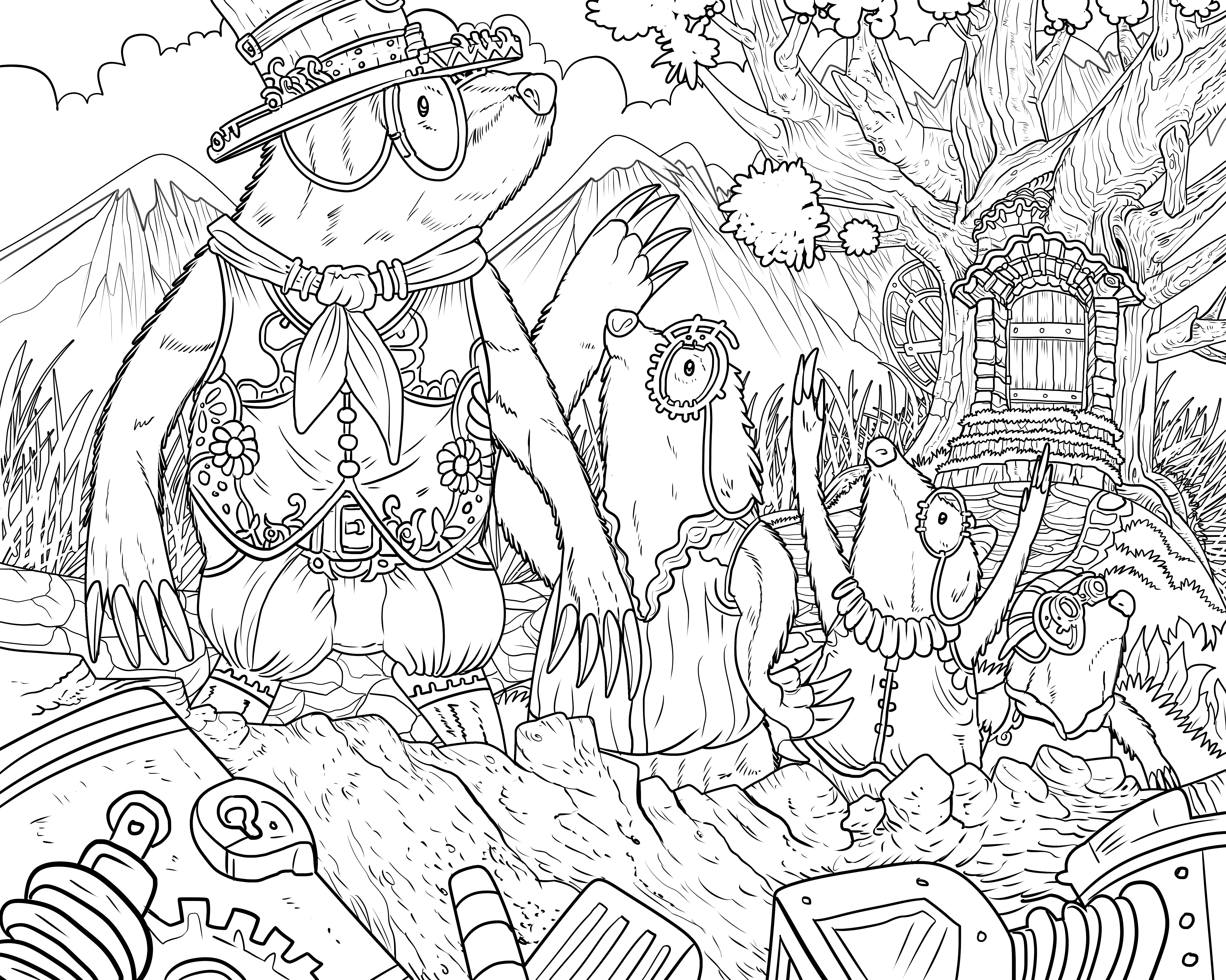 Mythological Creatures Coloring Pages - Steampunk Life – Adult Coloring Books Nathaniel Wake Publishing