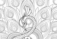 Mythological Creatures Coloring Pages - Zentangle Peacock with ornament Super Coloring