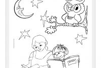 National Library Week Coloring Pages - Cute Little Boy Reading A Book at the Library Coloring Page Free