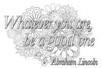 Optical Illusion Coloring Pages - Quote Whatever You are Be A Good One Quotes Adult Coloring Pages