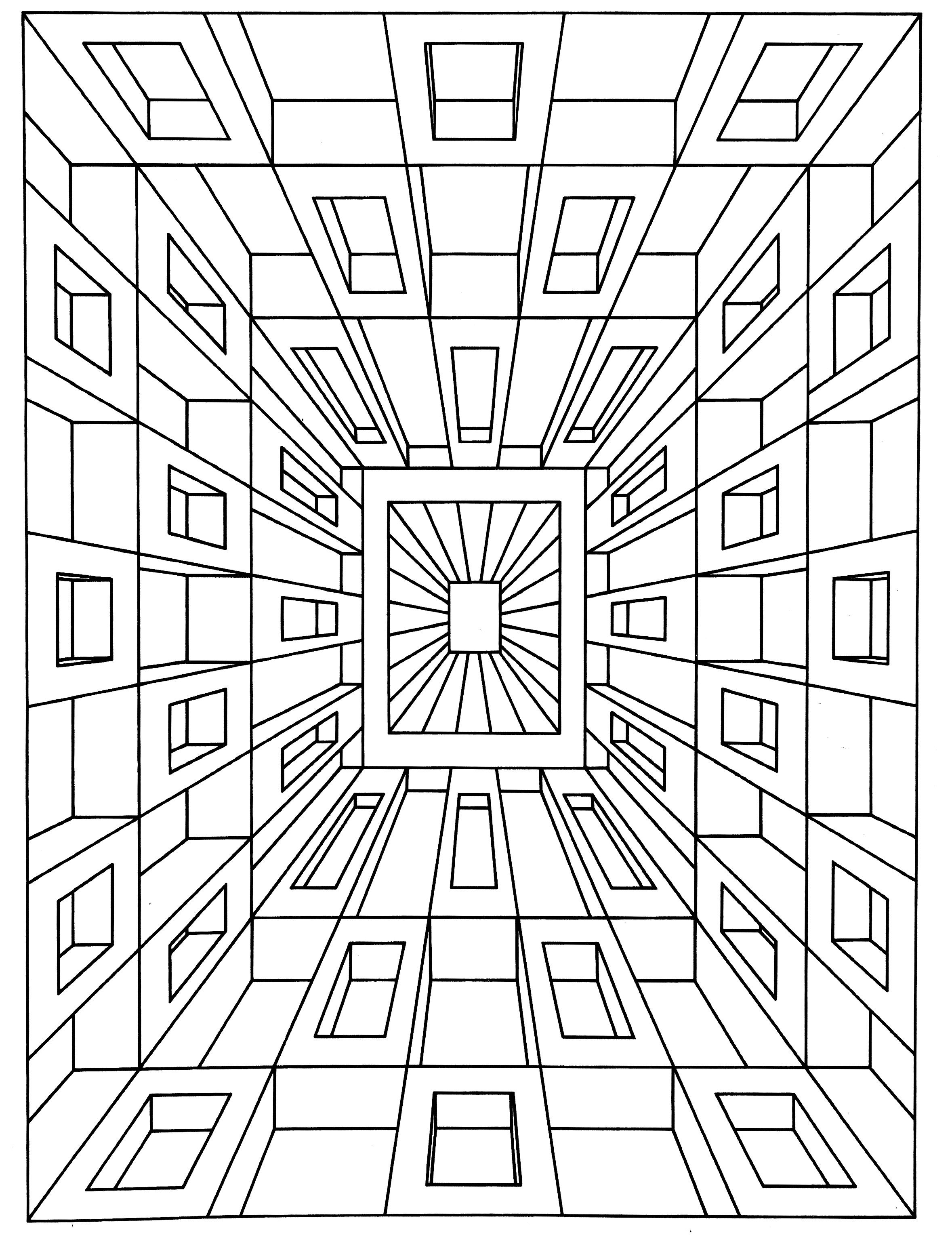 Optical Illusion Coloring Pages  Printable 3k - To print for your project