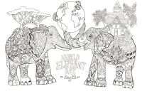 Optical Illusion Coloring Pages - World Elephant Day Elephants Adult Coloring Pages