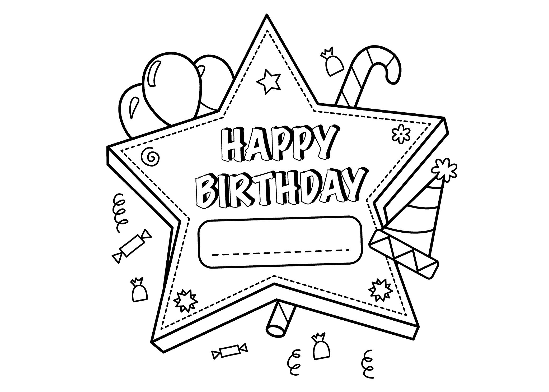 Personalized Happy Birthday Coloring Pages  to Print 19b - To print for your project