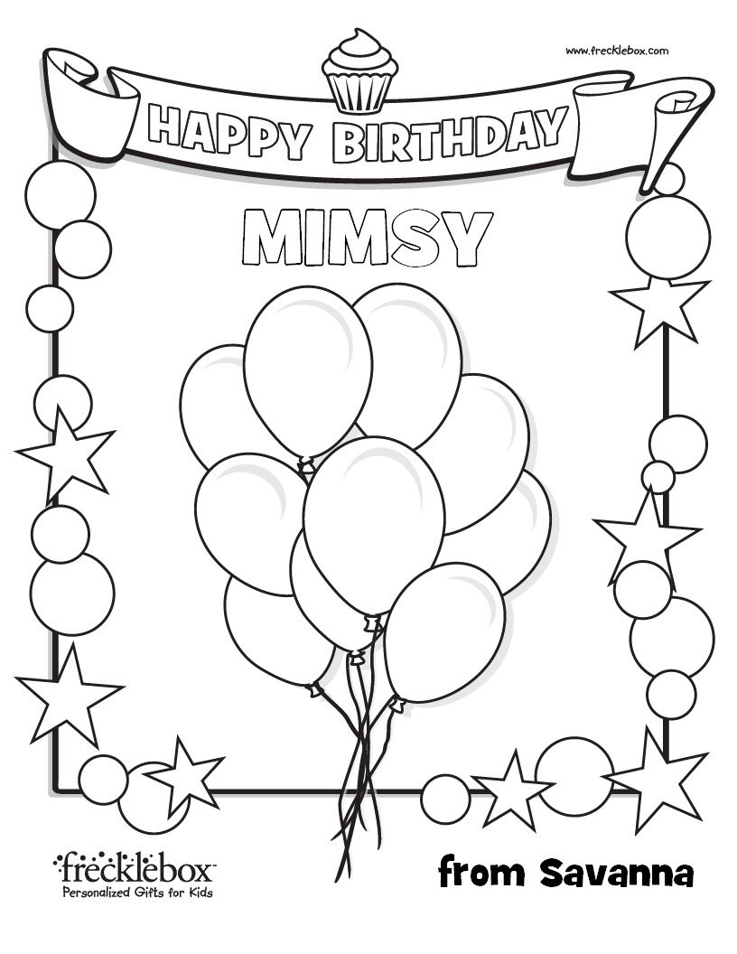 Personalized Happy Birthday Coloring Pages  to Print 14g - Free Download