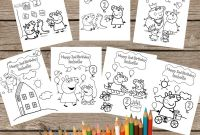 Personalized Happy Birthday Coloring Pages - Personalized Peppa Pig 7 Coloring Pages Digital Printable