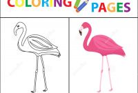 Pink Flamingo Coloring Pages - Coloring Book Page Flamingo Sketch Outline and Color Version