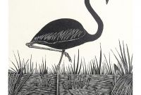 Pink Flamingo Coloring Pages - Flamingo Block Print Illustration Image 4 Of 4