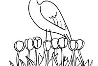 Pink Flamingo Coloring Pages - Spring Flamingo by Marianne Walker