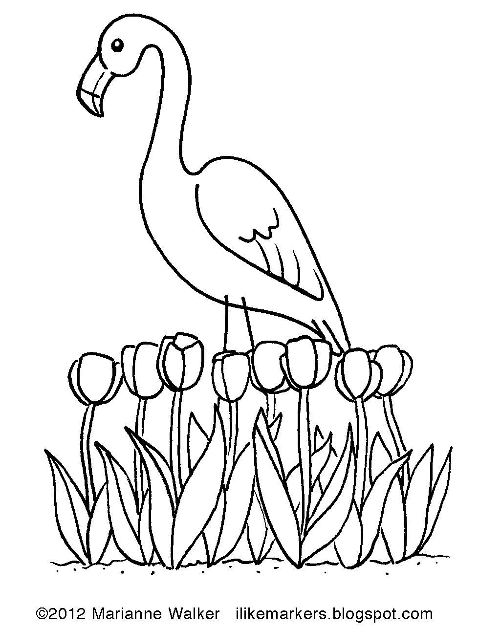 Pink Flamingo Coloring Pages  to Print 2s - Free For Children