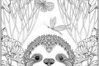Printable Sloth Coloring Pages - Cute Sloth In forest Coloring Page for Adults Shutterstock