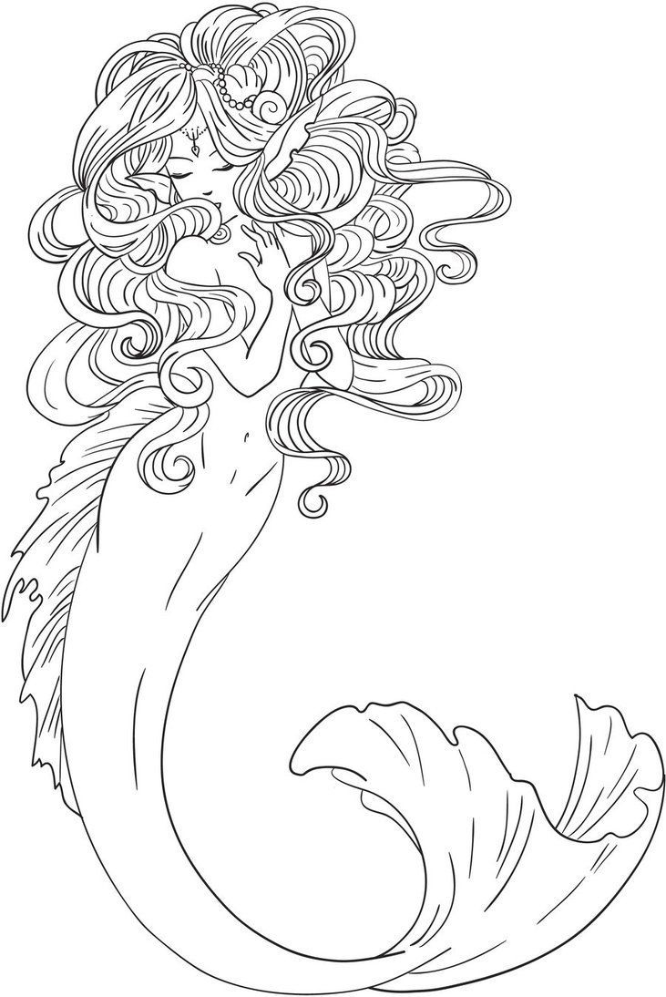 Realistic Mermaid Coloring Pages  Printable 8q - Free For kids