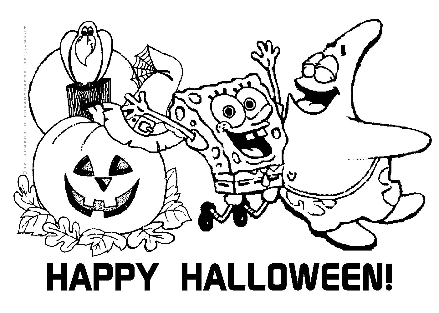 Sponge Bob Halloween Coloring Pages  to Print 1g - Free Download