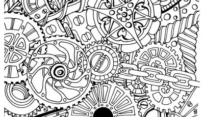 Steampunk Gears Coloring Pages - Free Coloring Page Coloring Adult Zen Anti Stress Mechanisms to