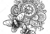 Steampunk Gears Coloring Pages - Patterned Vintage Clock with Precious ornaments and Gears and Two