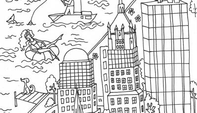 Street Fighter Coloring Pages - Trinity Church and Wall Street Building Coloring Page