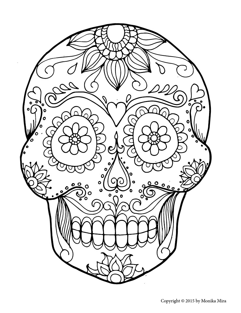 Sugar Skull Coloring Pages Printable Free  Gallery 16e - To print for your project