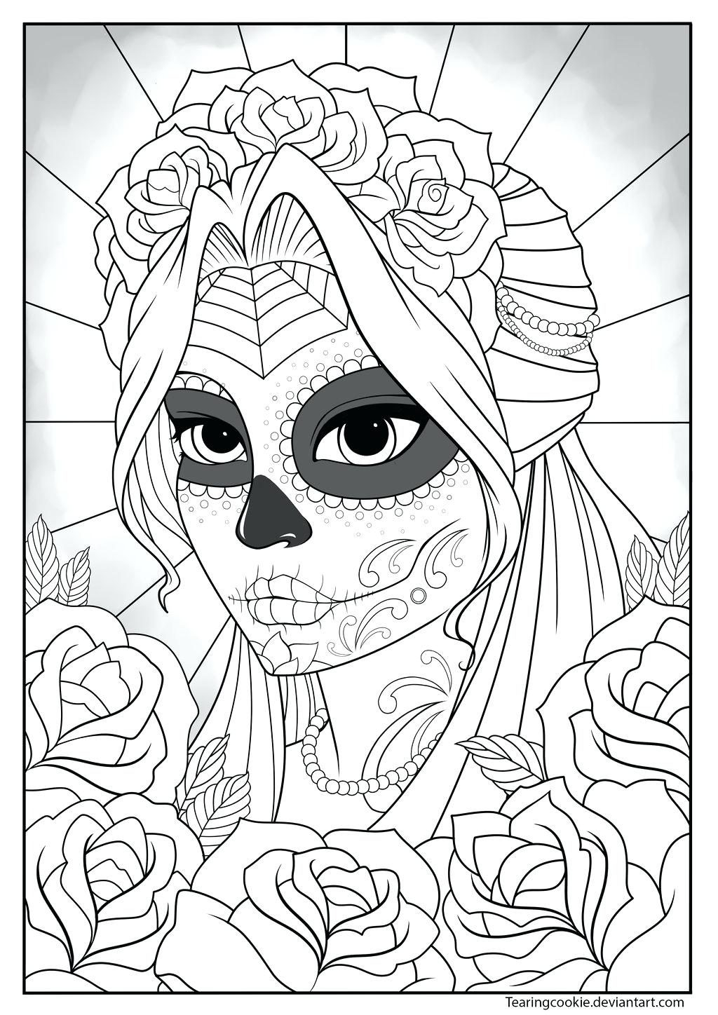 Sugar Skull Girl Coloring Pages  Collection 14r - To print for your project
