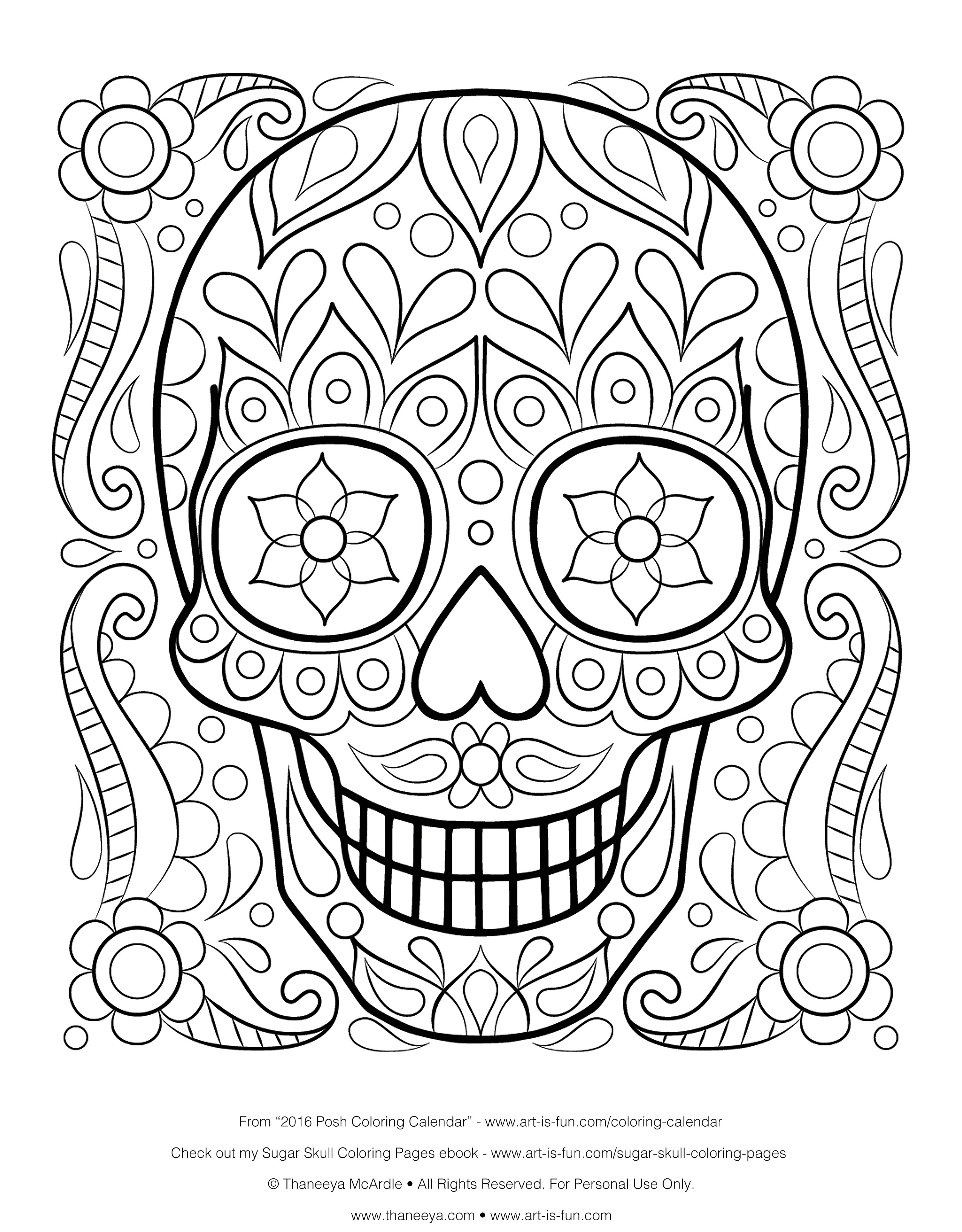 Sugar Skulls Coloring Pages Free  Gallery 19o - To print for your project