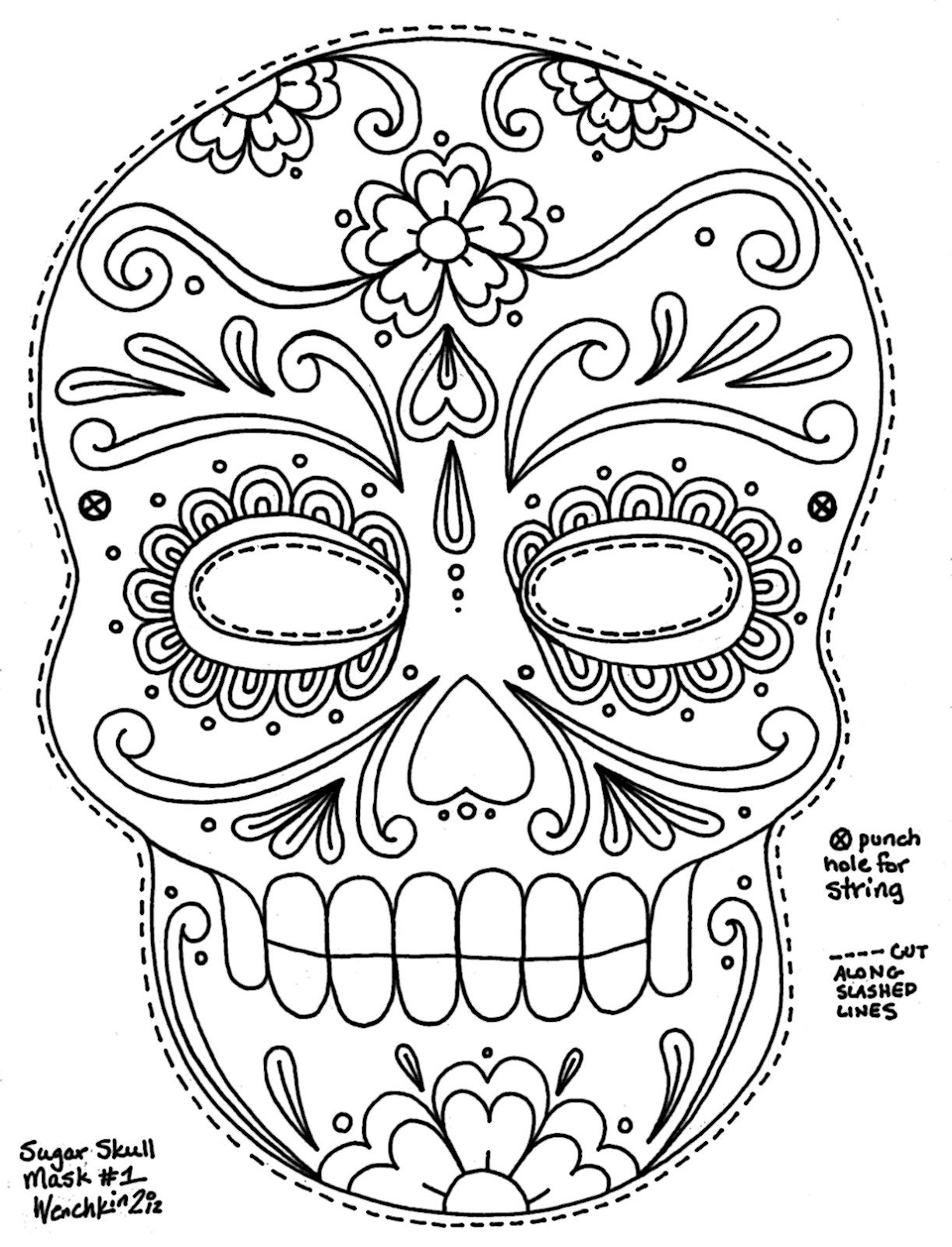 Sugar Skulls Coloring Pages Free  Gallery 8m - Save it to your computer