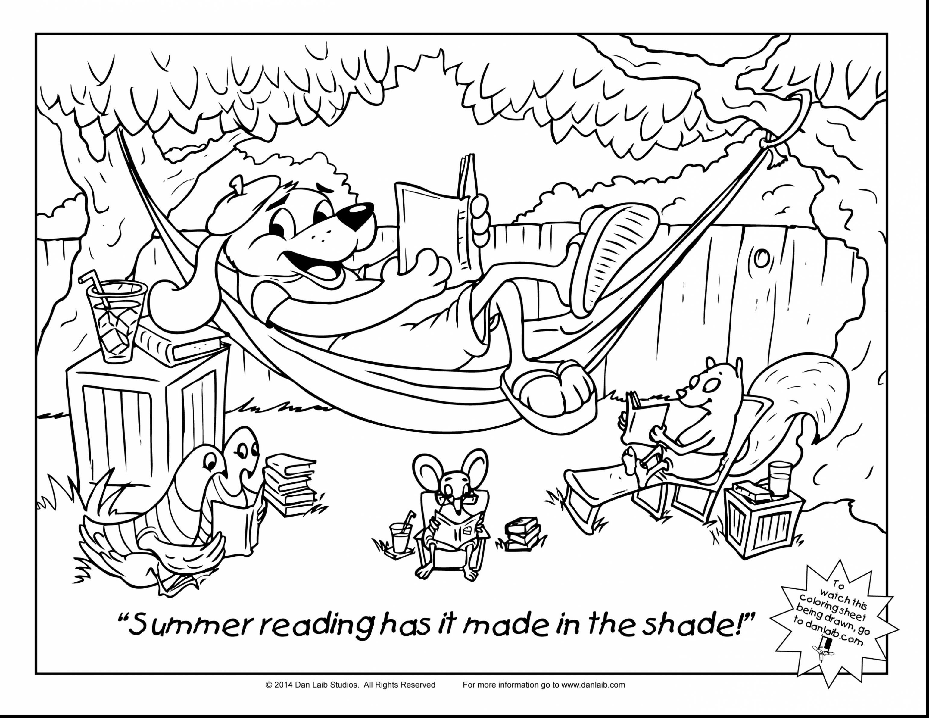 Summer Reading Coloring Pages  to Print 1o - Free For Children