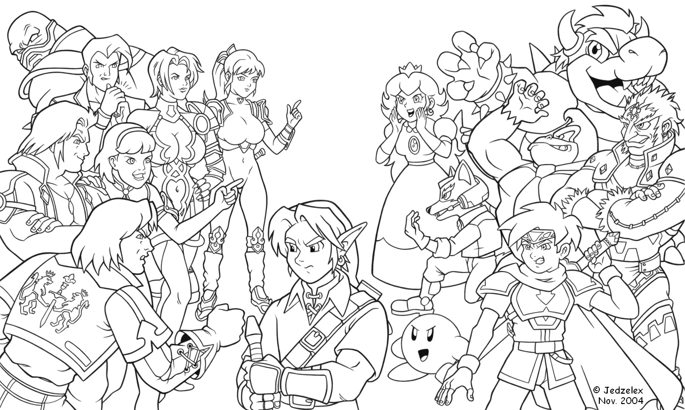 Super Smash Bros Coloring Pages  to Print 3c - Free For kids