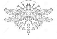 Tattoo Coloring Book Pages - Dragonfly Coloring Book for Adults Vector Stock Vector