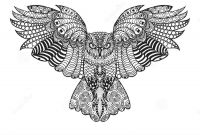 Tattoo Coloring Book Pages - Hand Drawn Cute Owl Portrait for Adult Coloring Stock Vector