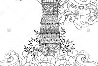 Tattoo Coloring Book Pages - Hand Drawn Doodle Outline Lighthouse Decorated with Floral ornaments