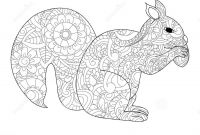 Tattoo Coloring Book Pages - Squirrel with Nut Coloring Raster for Adults Stock Illustration