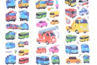 Tayo the Little Bus Coloring Pages - 6pcs Set Tayo the Little Bus Tag Pegatinas Juguetes 3d Cartoon