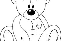 Teddy Bear Coloring Pages - 28 Collection Of Stitched Teddy Bear Drawing
