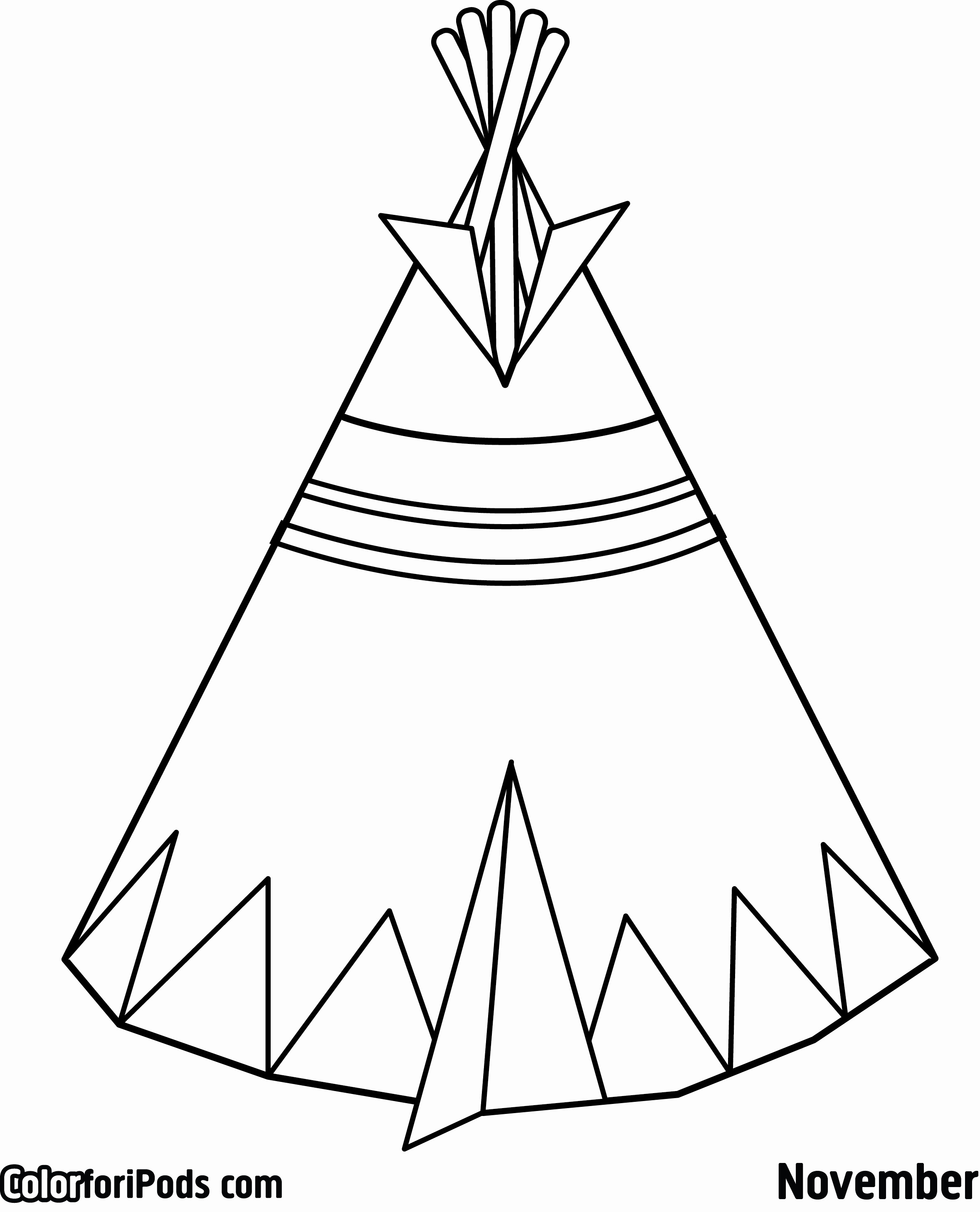 Teepee Coloring Pages  Collection 4q - Save it to your computer