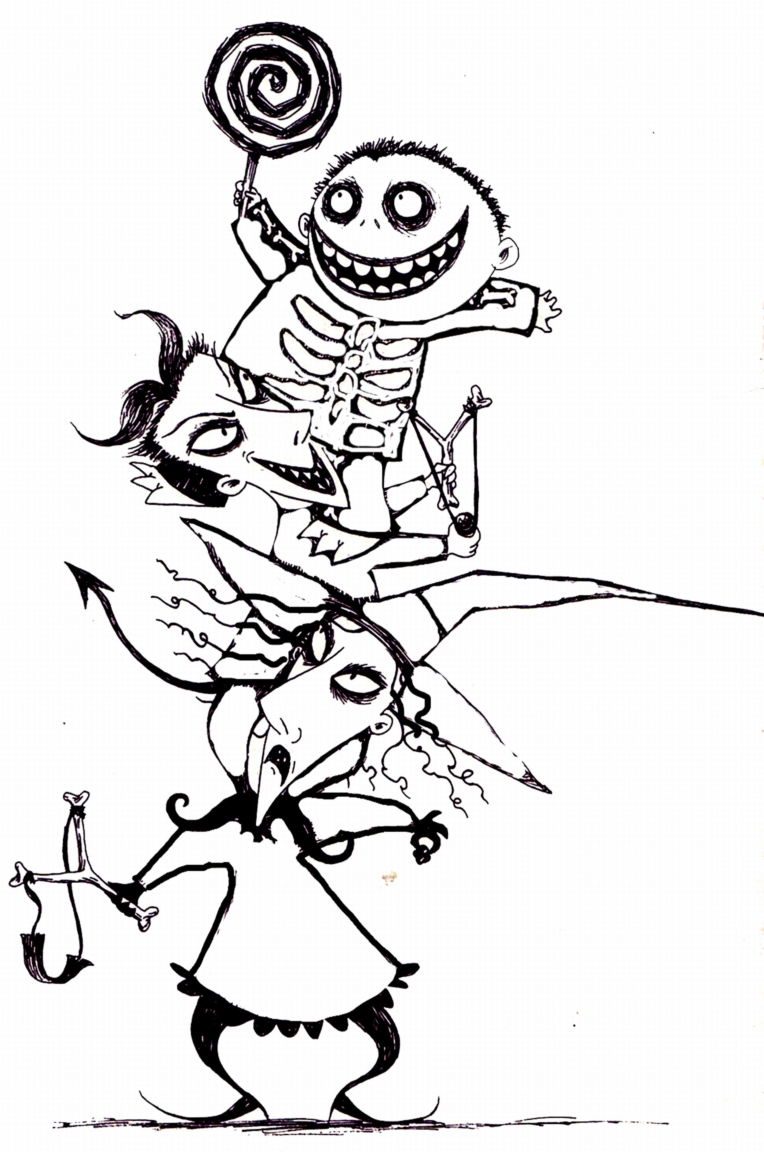 The Nightmare before Christmas Coloring Pages  to Print 10k - Free For Children