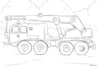 Tractor Trailer Coloring Pages - Crane Truck Coloring Page