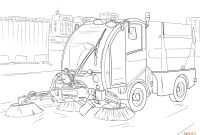 Tractor Trailer Coloring Pages - Street Sweeper Coloring Page